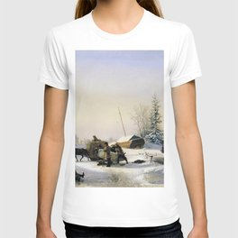 Transportation Of Ice 1849 By Lev Lagorio | Reproduction | Russian Romanticism Painter T-shirt