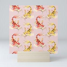 watercolor koi fish pink background Mini Art Print