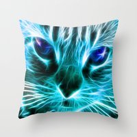 thundercats Throw Pillows featuring Lightining Cat by Augustinet