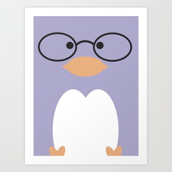 Nerdy Penguin  Art Print