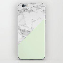 Marble + Pastel Green iPhone Skin