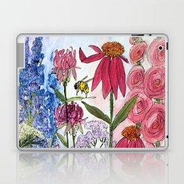 Watercolor Acrylic Cottage Garden Flowers Laptop & iPad Skin