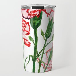pink and red carnation watercolor painting Travel Mug
