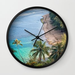 Beach Palm Trees Kauai Wall Clock
