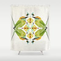 soul eater Shower Curtains featuring green bee eater  by Manoou