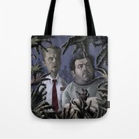 shaun of the dead Tote Bags featuring Shaun of the Dead Caricature by Richtoon