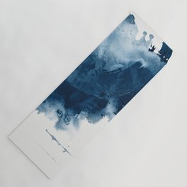 Where does the dance begin? A minimal abstract acrylic painting in blue and white by Alyssa Hamilton Yoga Mat