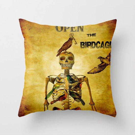 Open the Birdcage Throw Pillow