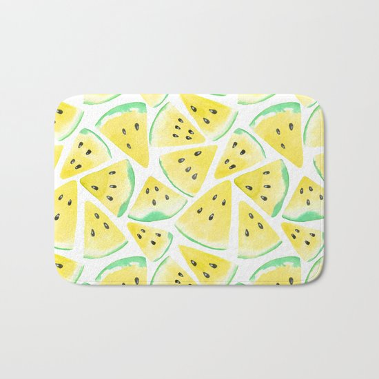 Yellow watermelon slices pattern Bath Mat