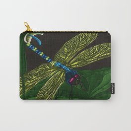 Dragonfly on a leaf by Jeanpaul Ferro based on b&w print by E.C. Escher Carry-All Pouch