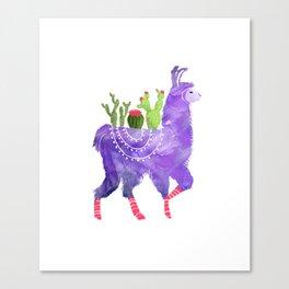 No Prob-Llama - Purple Llama and Cacti Canvas Print