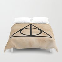 deathly hallows Duvet Covers featuring Deathly Hallows on Parchment (Black) by Hannah Ison