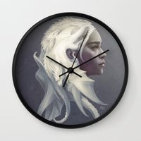 mother of dragons Wall Clocks featuring Mother of Dragons by Artgerm™