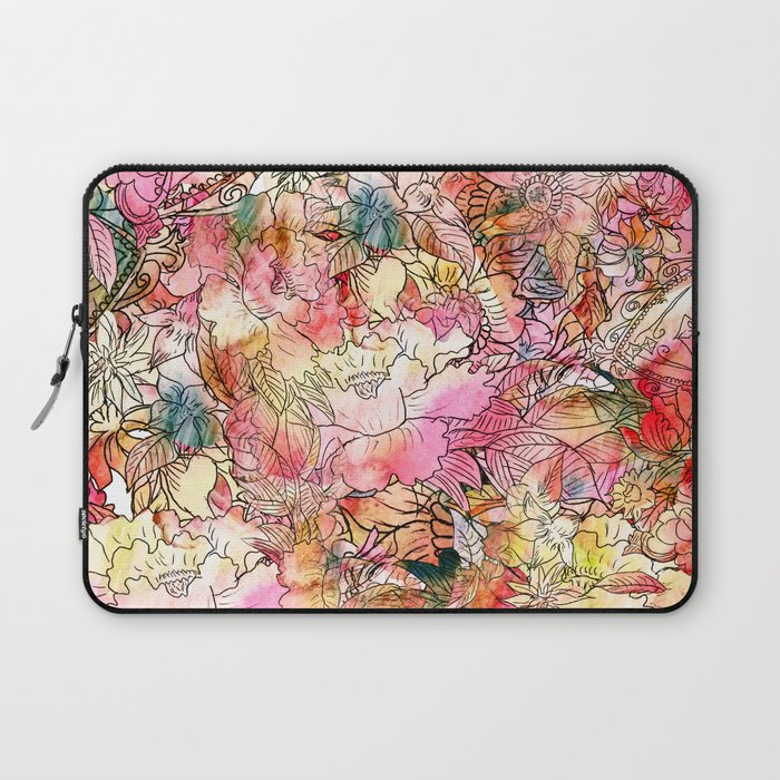 Summer Flowers | Colorful Watercolor Floral Pattern Abstract Sketch Laptop Sleeve