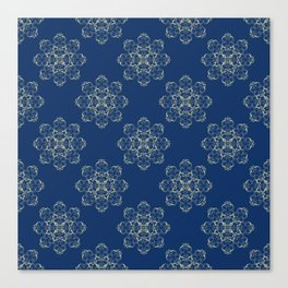 Golden Flowers On Blue Canvas Print