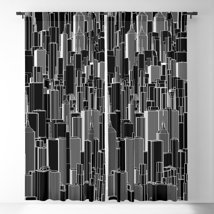 Tall City Bw Inverted Lineart City Pattern Blackout Curtain By