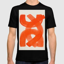 Mid Century Modern Abstract Painting Orange Watercolor Brush Strokes T-shirt