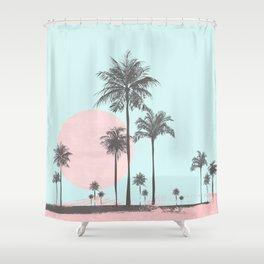 Beachfront palm tree soft pastel sunset graphic Shower Curtain