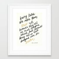 neil gaiman Framed Art Prints featuring Fairy Tales Are More Than True - Neil Gaiman by SWendelsDesign
