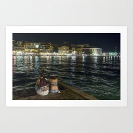Pondering life at the harbour in Chania Art Print