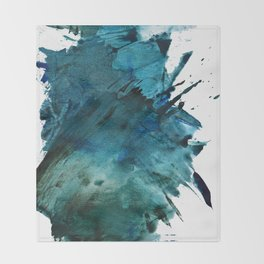 Scenic Route [2]: a pretty, minimal abstract piece in blue and green by Alyssa Hamilton Art Throw Blanket