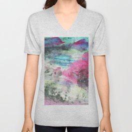 Grunge magenta teal hand painted watercolor Unisex V-Neck