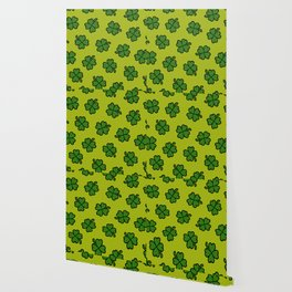 Lucky Four Leaf Clover Pattern Wallpaper