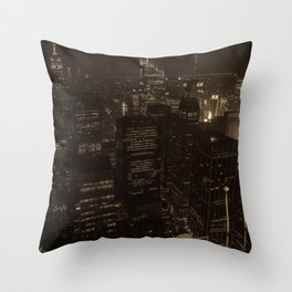 NYC in Sepia Throw Pillow