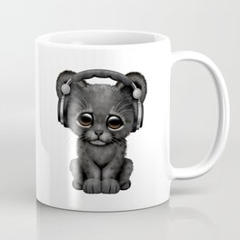 Cute Black Panther Cub Dj Wearing Headphones on Blue Coffee Mug