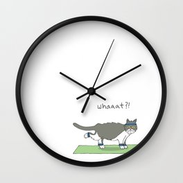 Yoga Cat by Caleb Croy Wall Clock