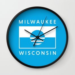 Milwaukee Wisconsin - Cyan - People's Flag of Milwaukee Wall Clock