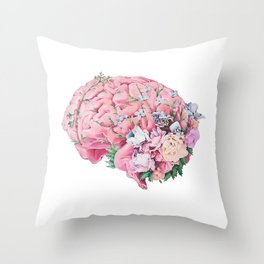 Floral Anatomy Brain Throw Pillow
