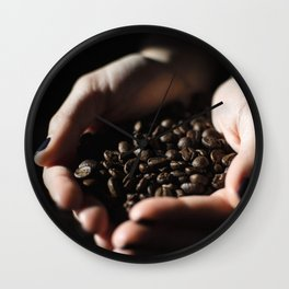 Hands Full of Coffee Beans Wall Clock