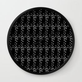 Black and White Sprig Pattern Wall Clock