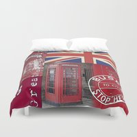 british flag Duvet Covers featuring Very British by LebensART