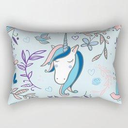 Blue Unicorn - Beautiful Sassy Illustrated Unicorn Rectangular Pillow