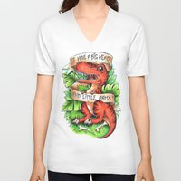 t rex V-neck T-shirts featuring T-Rex by Little Lost Forest
