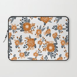 Texas orange and white university texans longhorns college football sports florals Laptop Sleeve