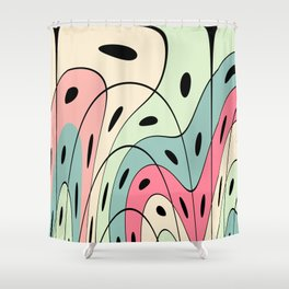 Wavy pastel shapes Shower Curtain