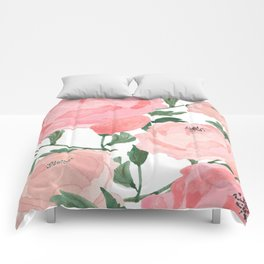 Peony Watercolor Collage Comforters