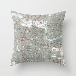 Sacramento California Map (1992) Throw Pillow