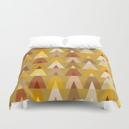 Geometric Triangles | mustard yellow taupe Duvet Cover