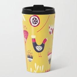 Scandi Floral Yellow Travel Mug