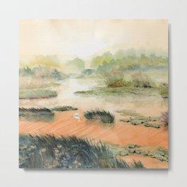 Egret On The Marsh Metal Print