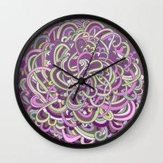 Detailed circlecorner, purple olive  Wall Clock