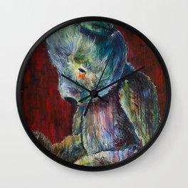 Vintage Teddy Bear, Sad Bear on Red Wall Clock