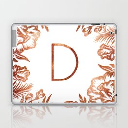 Letter D - Faux Rose Gold Glitter Flowers Laptop & iPad Skin