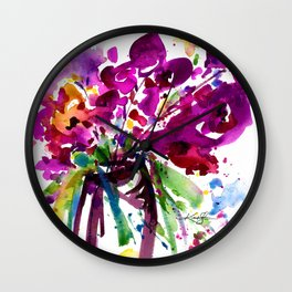Floral Dance No.2 by Kathy Morton Stanion Wall Clock