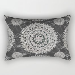 Black Marble and Pearl White Opaque Mandala Textile Rectangular Pillow