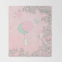Cute flying Bunny with Balloon and Flower Rabbit Animal on pink floral background Throw Blanket